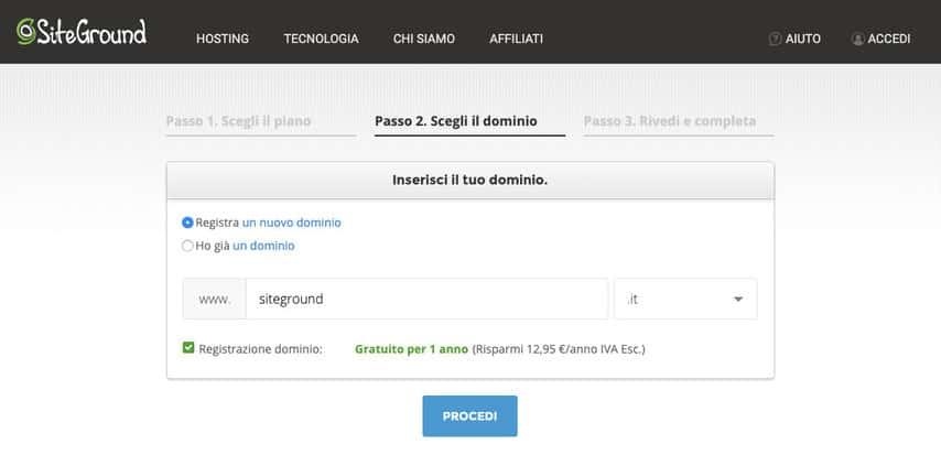 recensione siteground dominio
