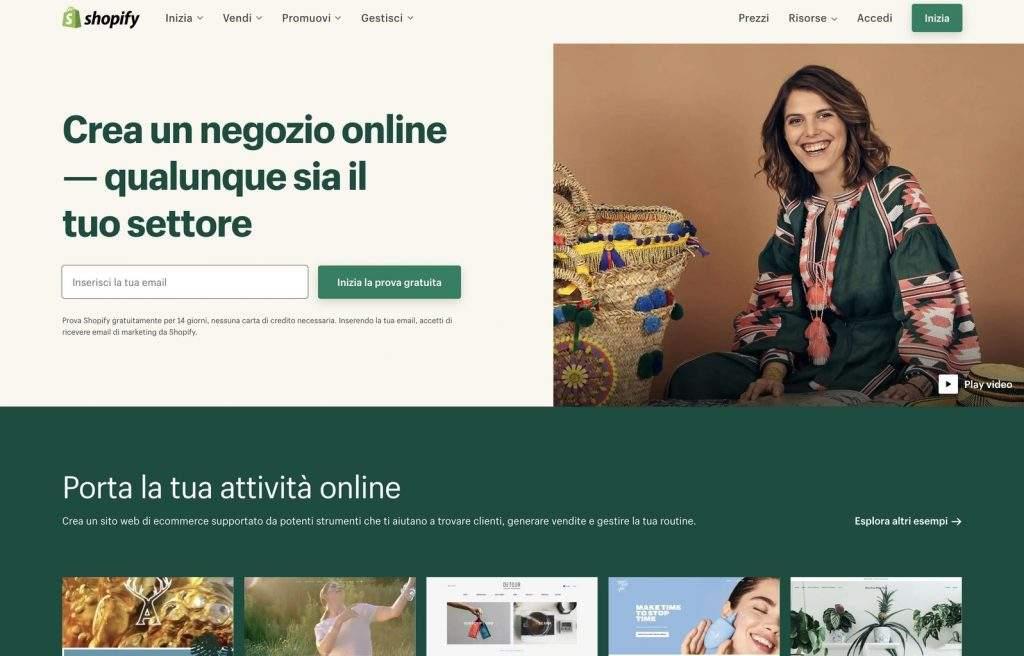 shopify creare ecommerce